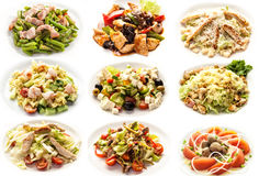 Set with salads on white background Stock Photos