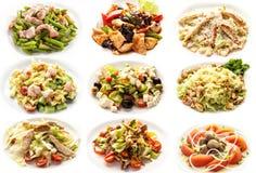 Set with salads on white background stock photos