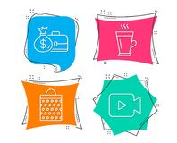 Salary, Shopping bag and Latte icons. Video camera sign. Diplomat with money bag, Paper package, Tea glass mug. Set of Salary, Shopping bag and Latte icons Royalty Free Stock Photography