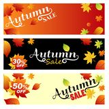Set sale autumn. Bright banners on light, orange and black backg Royalty Free Stock Images