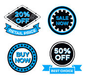 Set of Sale Badges. Discount price signs illustrations, they read 20% off Retail price, Sale now, Buy now, Best choice and 50% off Stock Photography