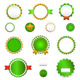 Set of sale badges, labels and sticers without text in green Royalty Free Stock Image