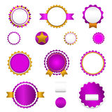 Set of sale badges, labels and sticers without text in purple Stock Photos
