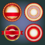 Set of sale badges, labels and stickers in red without text. Badges, labels and stickers without text on retail. Designed in red colors royalty free illustration