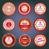 Set of sale badges, labels and stickers in red. Badges, labels and stickers with various inscriptions on retail. Designed in red colors royalty free illustration