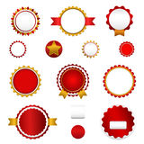 Set of sale badges, labels and stickers without text in red Royalty Free Stock Image