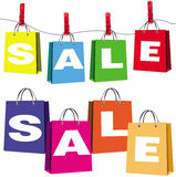 Set of sale bags. This image represents a collection of bags with sale sign Stock Photography
