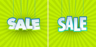 Set of sale banner template design. Special offer, colourful letters for shopping, mall, trade, retail. Stock Image