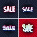 Set of sale banner template design. Special offer, colourful letters for shopping, mall, trade, retail. Royalty Free Stock Photo