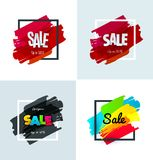 Set of sale banner template design. Special offer, colourful letters for shopping, mall, trade, retail. Royalty Free Stock Images