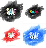 Set of sale banner template design. Special offer, colourful letters for shopping, mall, trade, retail. Royalty Free Stock Photography