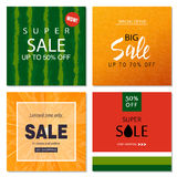Set of sale banner templates. Vector illustrations for website and mobile website banners, posters, email and newsletter. Designs, ads, coupons, promotional Stock Photography