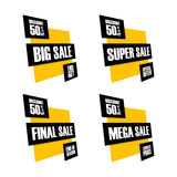 Set of sale banners. Big, Super, Final and Mega sale. This weekend, special offer, lowest price, end of season. Discount up to 50% off. Vector illustration Stock Photo