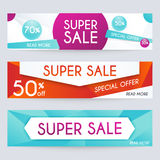 Set of sale banners design. Sale paper banner. Sale and discount Stock Photography
