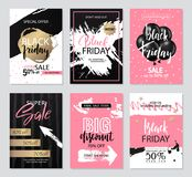 Set of sale banners with grunge elements, brush strokes and handwritten inscriptions. Black Friday sale banners. Vector Royalty Free Stock Photo