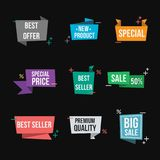 Set of sale banners. Isolated promo seals/banner design element. Promo labels design template. Best seller, discount, special offer, best price, new product stock illustration