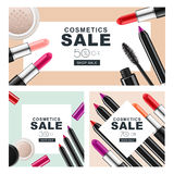Set of sale banners with makeup cosmetics. Red lipstick, mascara, powder and cosmetic pencils. Royalty Free Stock Photo