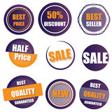 Set of sale, buy now, new, half price banner in yellow and purpl Stock Photos