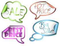 Set of Sale Comic Clouds Royalty Free Stock Image