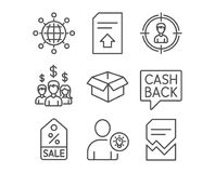 Sale coupon, Headhunting and Money transfer icons. User idea, Salary employees and International globe signs. Set of Sale coupon, Headhunting and Money transfer Stock Photography