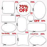 Set: Sale Coupon, labels. Blank template, scissors Stock Photos