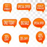 Set of sale design elements isolated without a shadow. Sale. Sti. Bright labels. Hot sale. Discounts. Shopping season. A set of stickers. Special offer vector Stock Images
