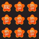 Set of sale design elements isolated without a shadow. Sale. Sti. Bright labels. Hot sale. Discounts. Shopping season. A set of stickers. Isolated without a Stock Photography