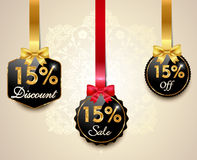 Set of 15 sale and discount golden labels with red bows and ribbons Style Sale Tags Design, 15 off. Created Set of 15 sale and discount golden labels Stock Images