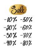 Set of sale, discount illustration. Sale lettering banner with hand drawn golden background. royalty free illustration