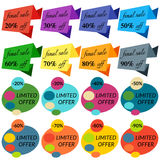 Set of Sale Discount Labels, Tags, Emblems. Royalty Free Stock Photo