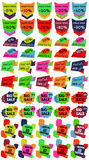 Set of Sale Discount Labels, Tags, Emblems. Web collection of stickers and badges for sale. Royalty Free Stock Image