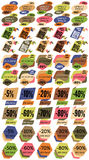Set of Sale Discount Labels, Tags, Emblems. Web collection of stickers and badges for sale Royalty Free Stock Photography