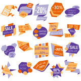 Set of Sale Discount Labels, Tags, Emblems. Web collection of stickers and badges for sale Stock Photography