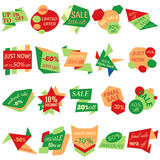 Set of Sale Discount Labels, Tags, Emblems. Web collection of stickers and badges for sale Stock Images