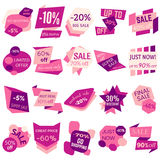 Set of Sale Discount Labels, Tags, Emblems. Web collection of stickers and badges for sale Stock Image