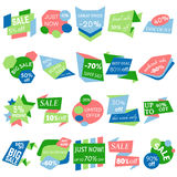 Set of Sale Discount Labels, Tags, Emblems. Web collection of stickers and badges for sale. Stock Image