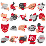 Set of Sale Discount Labels, Tags, Emblems. Web collection of stickers and badges for sale Royalty Free Stock Images