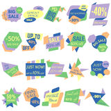Set of Sale Discount Labels, Tags, Emblems. Web collection of stickers and badges for sale Royalty Free Stock Photos