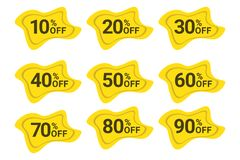 Set of sale / discount labels in yellow and black colors. stock image