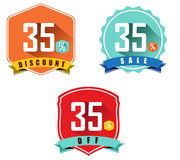 Set of 35% sale and discount, long shadow flat color design, 35 off Royalty Free Stock Images