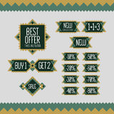 Set of sale and discount offer label. Banner, flier, card, board.  Royalty Free Stock Photography