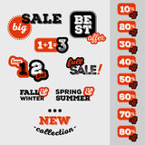 Set of sale and discount offer label. Banner, label, flier, card, board. Shabby design. Shopping sticker. Price reduction. Vector. Set of sale and discount offer Stock Images