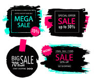 Set of sale, discount stickers and banners. Hand drawn grunge brush strokes and splatters. Backgrounds for text. Royalty Free Stock Images