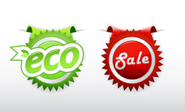 Set of sale and ecology badge. Stock Photography