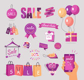 Set of Sale Flat Stickers, Tags, Concepts Royalty Free Stock Photos