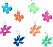 Set of sale floral tags. Collection of colorful tags in shape of flowers Royalty Free Stock Photography