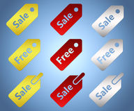 Set of sale and free tags. Vector tags, including golden, red and silver colors Stock Photos