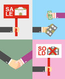 Set. The sale of the home. Plate. buying a home. The text sold, Stock Images