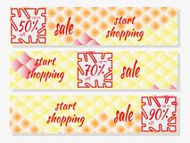 Set of Sale horizontal banners design templates with national oriental pattern, multicolored fish scale koi carp. vector illustration