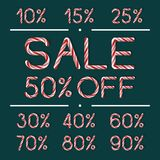 Set of Sale labels in Candy Cane style Stock Photo